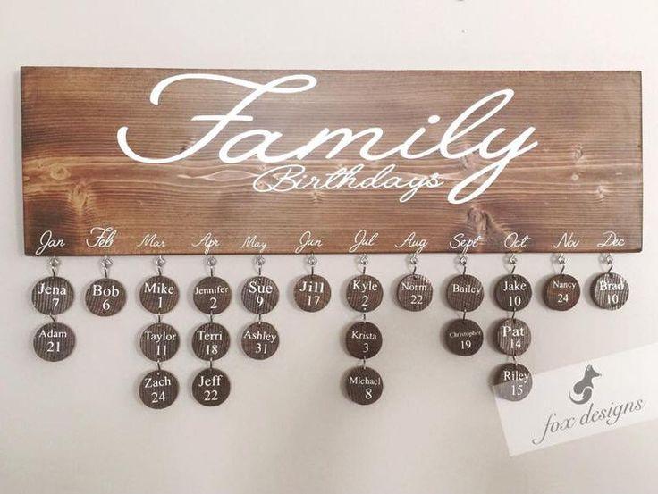 Birthday Board, Perfect Gift, Birthday Organizer, Family Keepsake, Birthday calendar, Wood Decor, Birthday Gift Idea, House Warming Gift by FoxDesignsBoutiqueCo on Etsy https://www.etsy.com/listing/495879860/birthday-board-perfect-gift-birthday