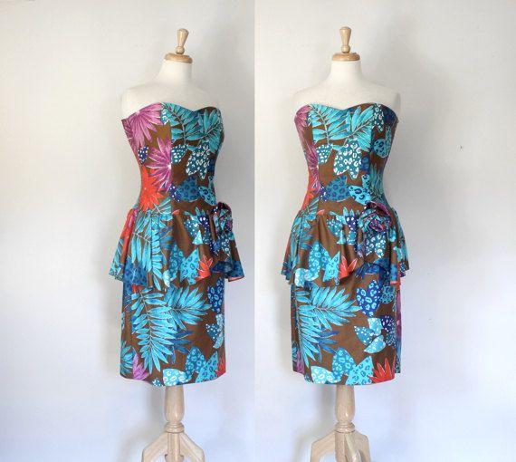 80s Dress / 80 Peplum Dress / Vintage Column by DuncanLovesTess
