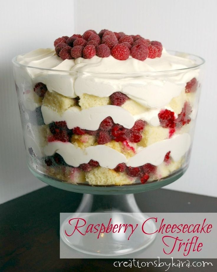 Recipe for raspberry cheesecake trifle. Layers of pound cake, fresh raspberries, and cream cheese filling make this trifle divine!