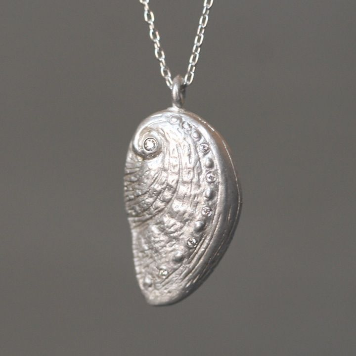 Michelle Chang Sea Shell Necklace in Sterling Silver with 7 Diamonds-ladies, woman, women, women's, fashion, jewelry, necklaces, necklace, statement, wedding, weddings, bridal, bridal jewelry, gemstone jewelry, gemstone necklace, diamond necklace, diamond charms, statement necklace, statement jewelry, charm necklace, charm jewelry, handcrafted jewelry, fine jewelry, handcrafted, tiny charms, itty bitty charm necklace, layering necklaces, jewelry gifts, bridal gifts, shower gifts, birthday…