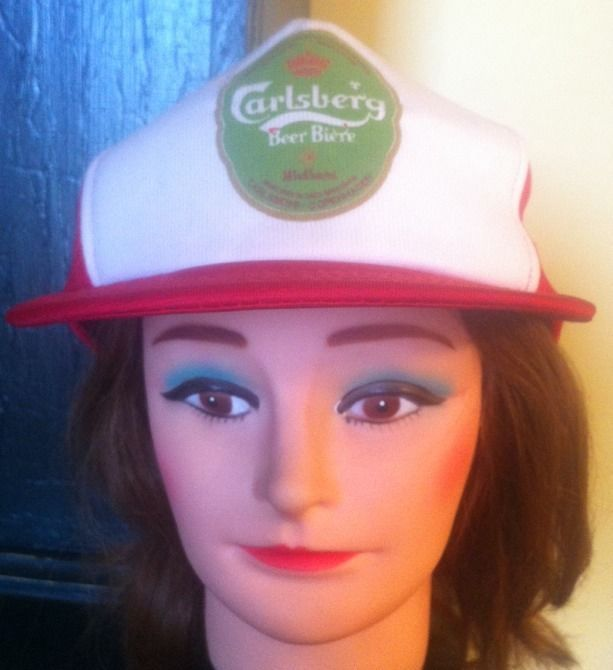 Vintage Carlsberg Beer Snapback Trucker Style Hat Adjustable Red White Green