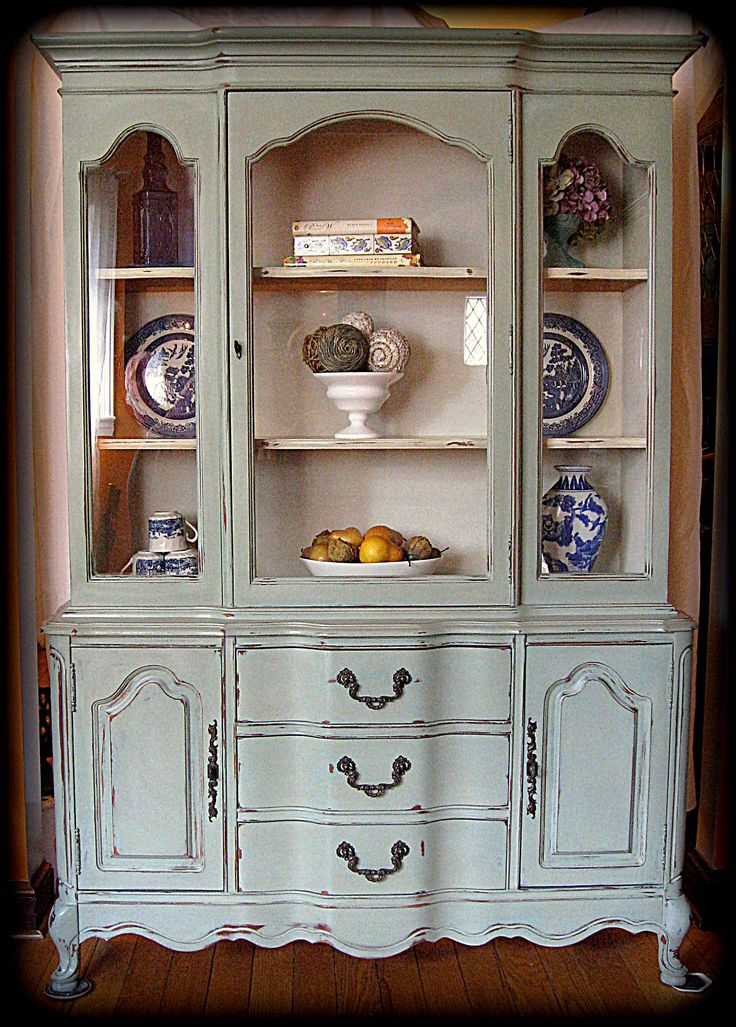 French blue china cabinet duck egg with a linen wash for Duck hutch ideas