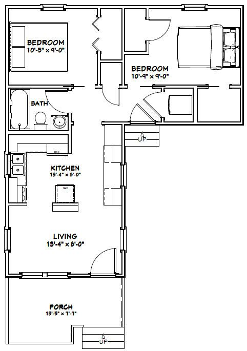 14x32 tiny house 14x32h1l 643 sq ft excellent floor plans - Tiny House Blueprints