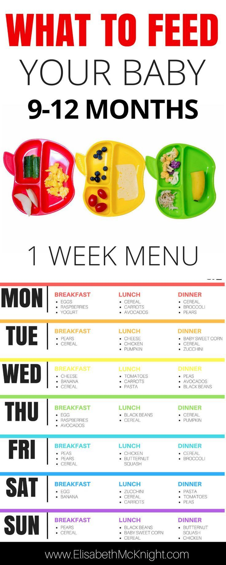 wonder what to feed your baby? sample baby menu and feeding chart for 9 - 12 months