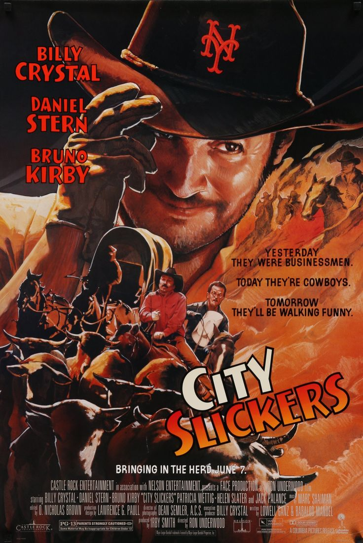 "Film: City Slickers (1991) Year poster printed: 1991 Country: USA Size: 27"" x 40"" Artist: John Alvin This is an original, one-sheet movie poster from 1991 for City Slickers starring Billy Crystal, Dan"