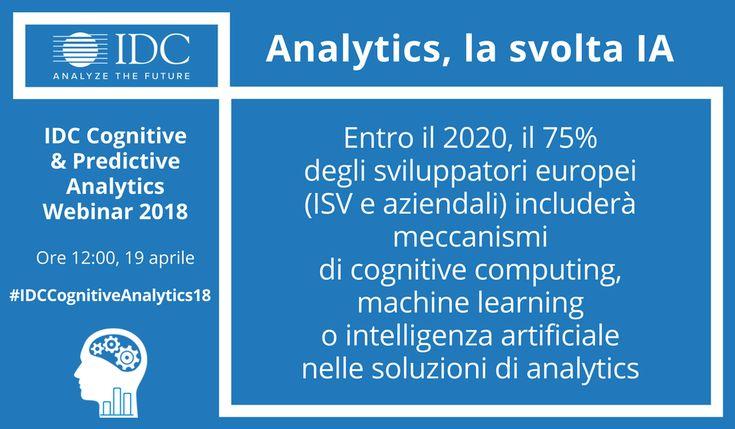 Entro il 2020, il 75% degli sviluppatori europei includerà meccanismi di cognitive computing, machine learning o intelligenza artificiale nelle soluzioni di analytics