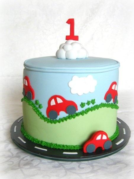 taart met auto's