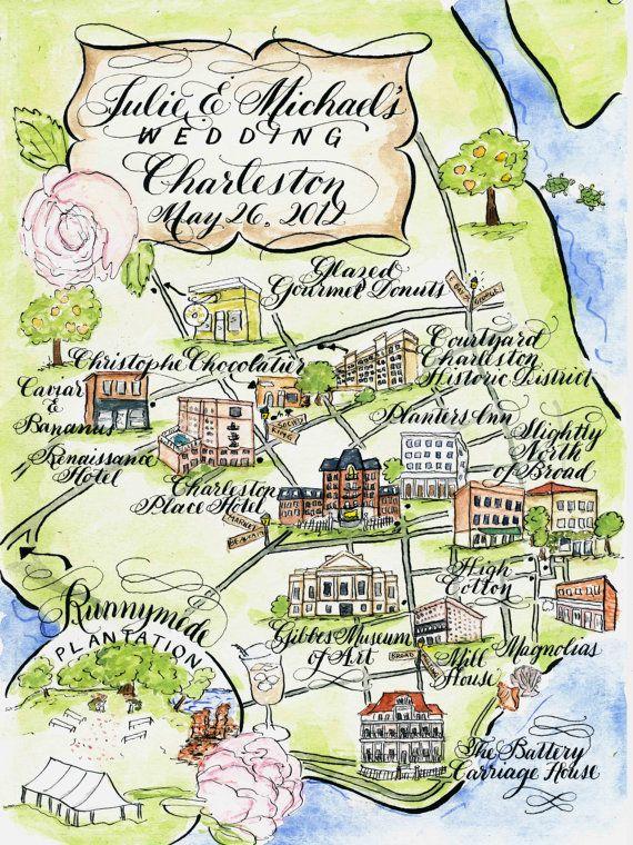 Watercolor Wedding Map DIY, print at home or order prints. $400.00, via Etsy.