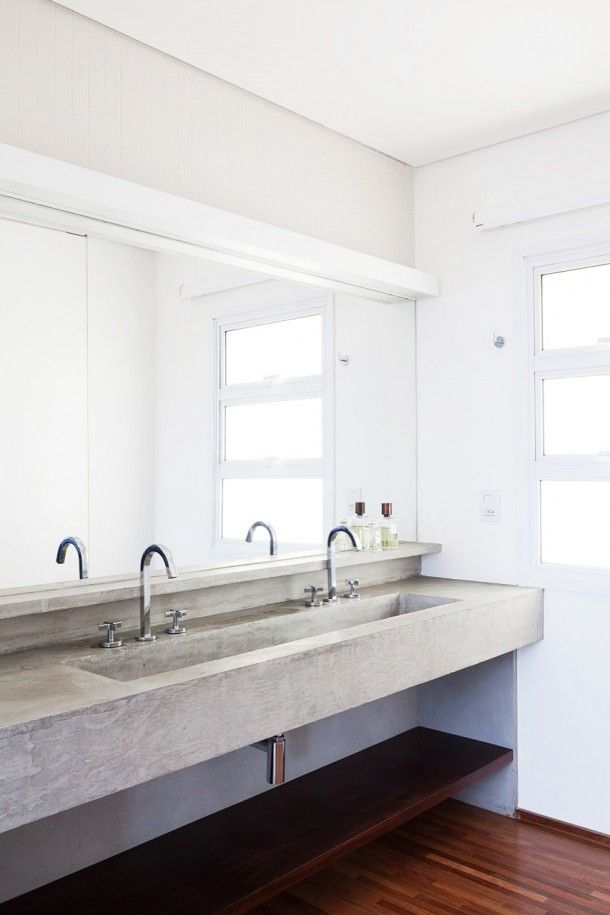 Apartment - Masculine And Minimalist Bathroom Design At Fidalga 727 Residence With Concrete Sink And Vanity Also Wood Floor And Frameless Wa...
