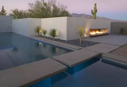 walkway across pool to fireplace: Ibarra Rosano, Modern Fireplaces, Swim Pools, Design Architects, Winter Resident, Rosano Design, Outdoor Fireplaces, Outdoor Spaces, Modern Pools