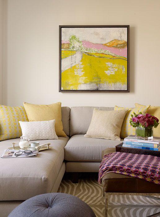 Suzie: Jute interior Design - Chic yellow & gray living room with light gray linen sofa with ...