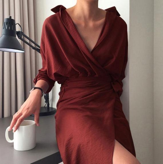 wrap dress – Kimono dress – tunic dress – romantic wrap dress – Kimono long dress – Black dre…