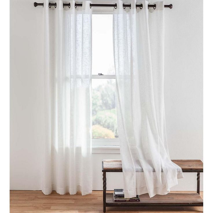 Single Sheer Linen Window Curtain Panel With Grommets
