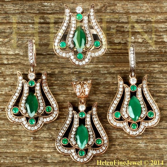 Hurrem Sultan Set Tulip Form  Marquise Shape  by helenfinejewels