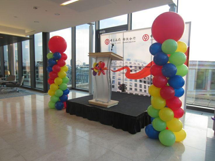 Bank of china full length balloon columns balloon for Balloon decoration london