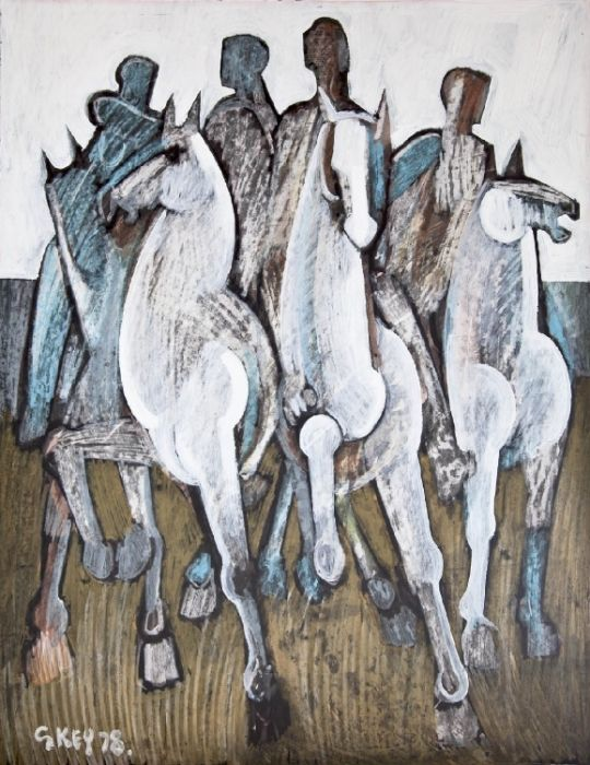 Riders, 1978  Mixed Media 29½ x 23 ins (74.93 x 58.42 cms) Signed and DatedGeoffrey Key - Riders