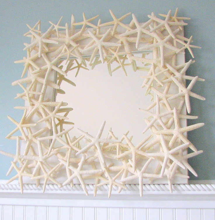 Beach Decor Starfish Mirror -  Nautical Shell Mirror - White Starfish Seashell Mirror. $295.00, via Etsy.