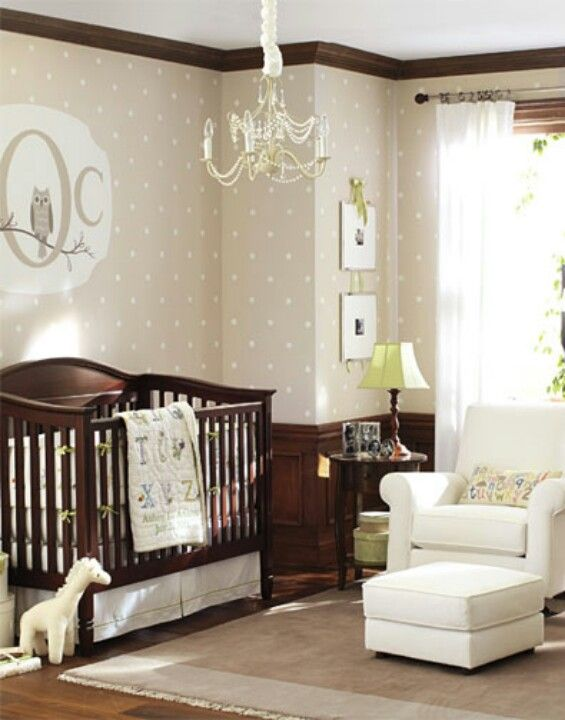 Neutral nursery even has the owls, love the wallpaper
