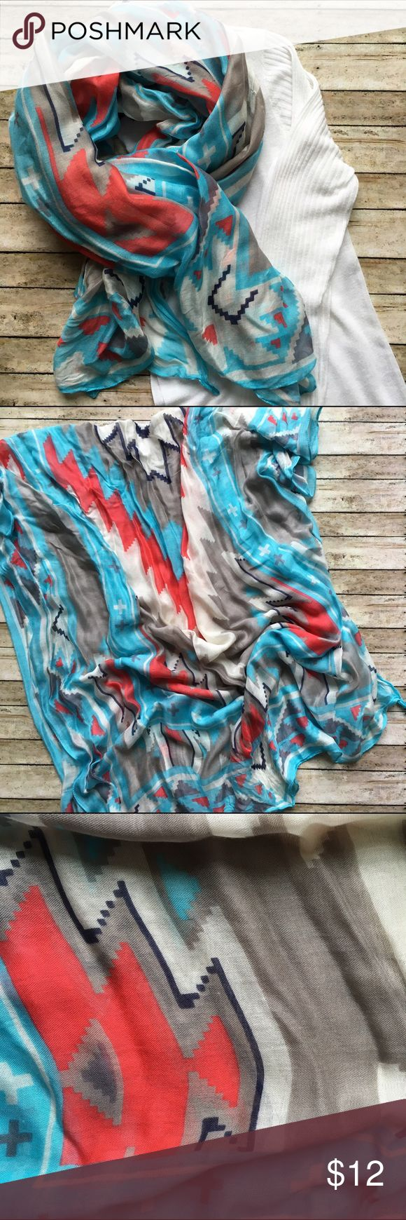Boutique Scarf Boutique Red, Navy, Light Blue, & White Southwestern Print Scarf. EUC. WILLI Smith Waterfall Cardigan also for sale. For info see listing in my closet. BUNDLE & SAVE! Boutique Accessories Scarves & Wraps