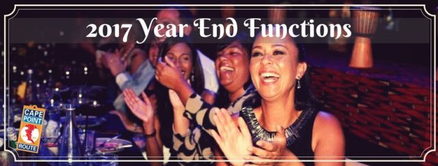 » 2017 Themed Year End Functions I Cape Town  Min 15 | Max 650 | From R445    Wrap up the year with a bang and celebrate your success. Your Year End Function could be a Themed Dinner Dance, Casino Cocktail Party, Murder Mystery Dinner Function, Interactive Event or Overnight Getaway.    Contact us for all you Event & Year End Requirements  Tel 021 789 0093 | Email info@capepointroute.co.za ­­­­