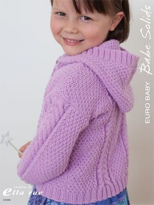 Babe Solids Cable Hooded Cardigan - FREE PATTERN DOWNLOAD  EY2000 from  by Euro Baby at KnittingFever.com