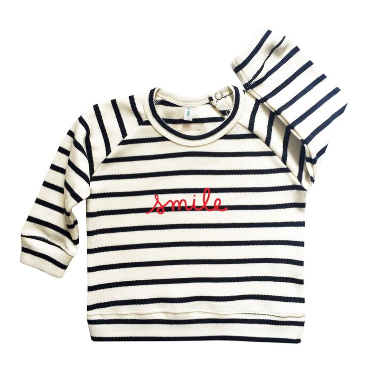 Breton stripe SMILE sweatshirt via Organic, Sustainable Baby and Kids Clothes | Organic Zoo. Click on the image to see more!