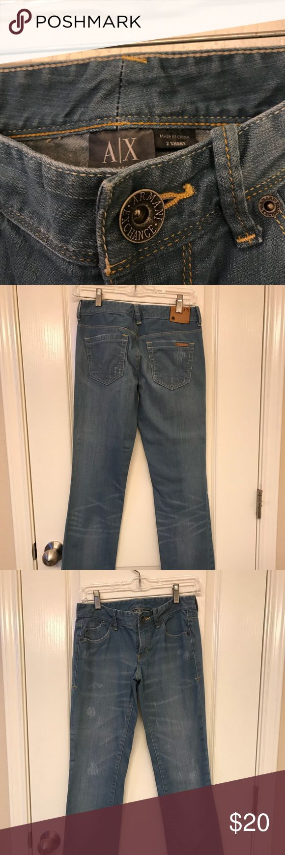 Armani exchange distressed jeans size 2 short In good condition Minimally worn A/X Armani Exchange Jeans Boot Cut