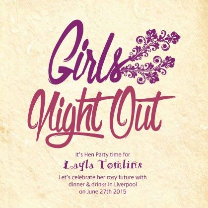 girls night out hen party custom online invitations from