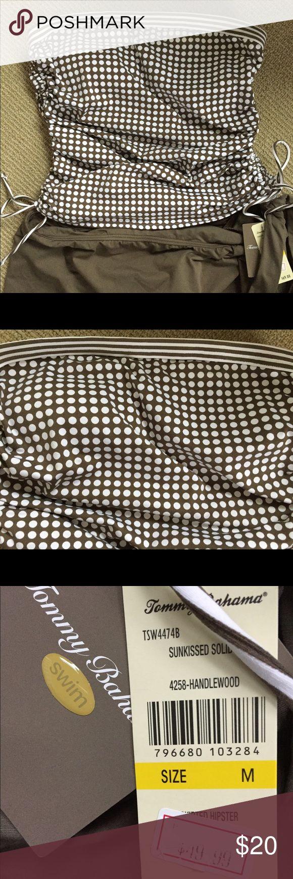 Tommy Bahama tankini. NWT. Olive and white Tommy Bahama tankini. Strapless polka dot top with solid skirted bottom. Never worn. NWT. Tommy Bahama Swim Bikinis