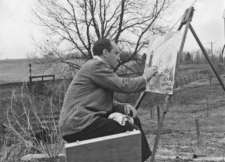 Oscar Cahén painting outdoors in King Township, Ontario, c. 1949.