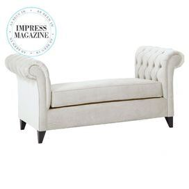 """Featuring tufted detailing along its elegantly rolled arms, this wood-framed settee adds extra seating in your entryway or brings a glamorous touch to the dining table.   Product: SetteeConstruction Material: Wood and polyester-cotton blend fabricColor: CreamFeatures: Button-tuftedDimensions: 36"""" H x 70"""" W x 35"""" D"""