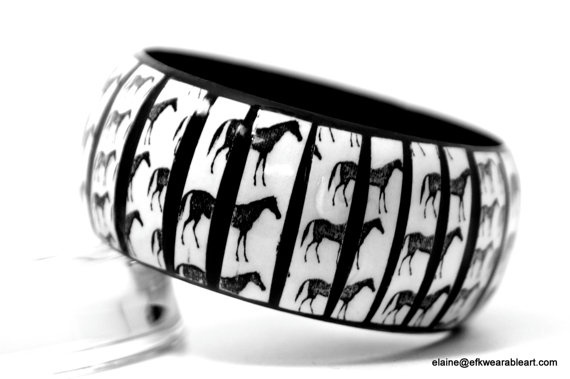 Black Horse Bangle      by EFKwearableart,.. .................        . ....  ..   Bold  Unique  Handmade