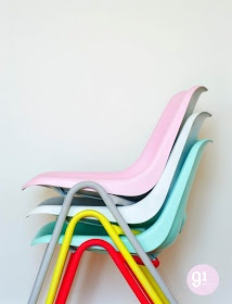 Pastel & Neon chairs. These would be great for extra seating when guests come over. #home #party #furniture