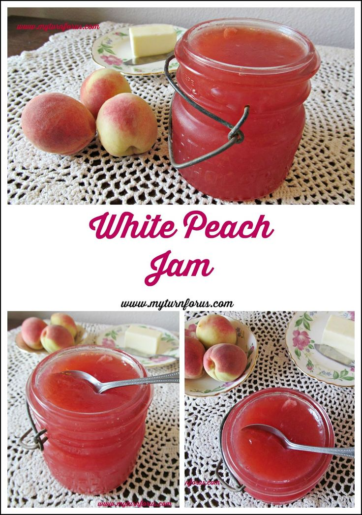 White peach jam made from fresh white peaches is delicious and totally gorgeous! !http://www.myturnforus.com/2015/08/white-peach-jam.html
