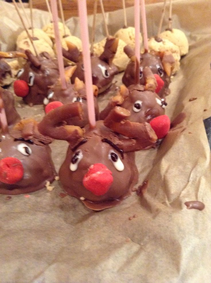 Reindeer cake pops made by kids and fun to eat