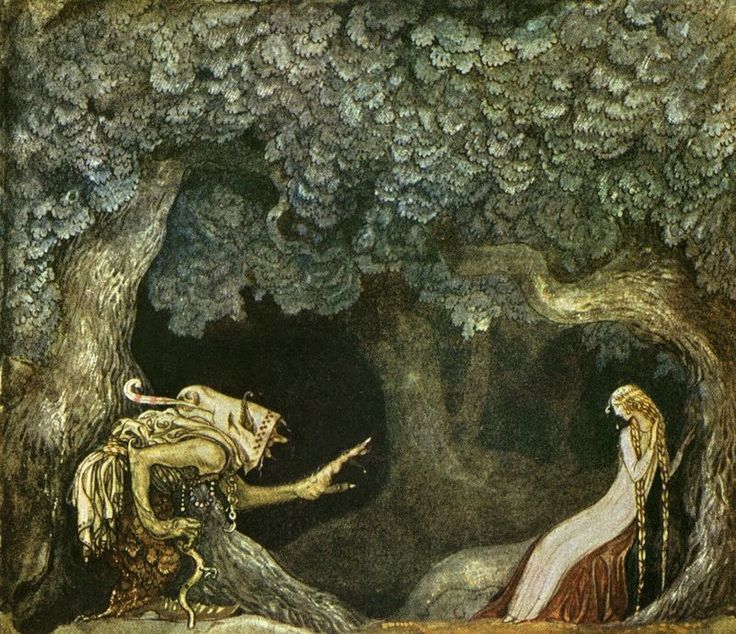 "Into the Woods, 6: The Dark Forest - ""The Queen's Pearl Necklace by John Bauer Sara Maitland: Forests are full of secrets and silences. It is not strange that the fairy stories that come out of the forest are stories about hidden identities, both good and bad."""