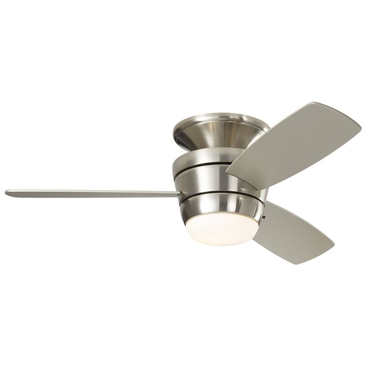 Shop Harbor Breeze Mazon 44-in Brushed Nickel Flush Mount Indoor Ceiling Fan with Light Kit and Remote (3-Blade) at Lowes.com