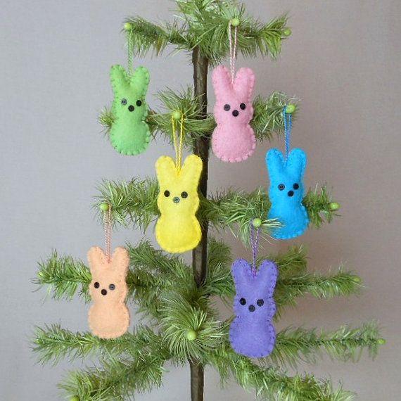 6 Wool Felt Peep Bunny Easter Ornaments