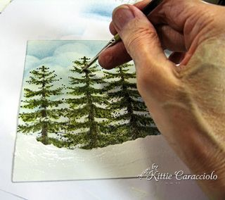A great tutorial from Kittie, painting trees and snow and a 3d snowman and bare tree.