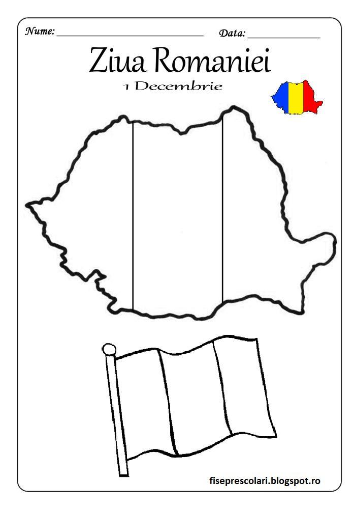 Harta Romaniei - Imagini de colorat pentru 1 Decembrie   Fise de lucru - gradinita