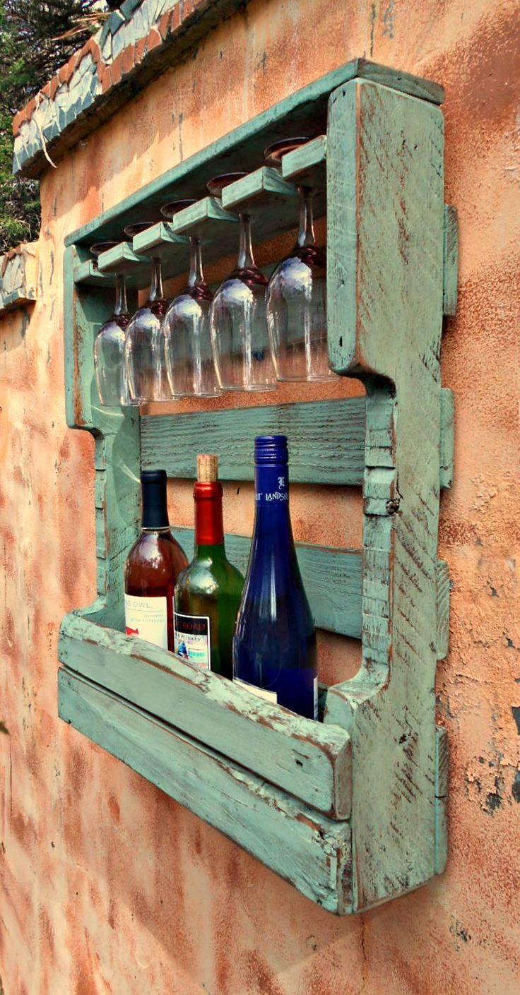 Rustic Wood Wine Rack Distressed Turquoise Pallet Wine ...