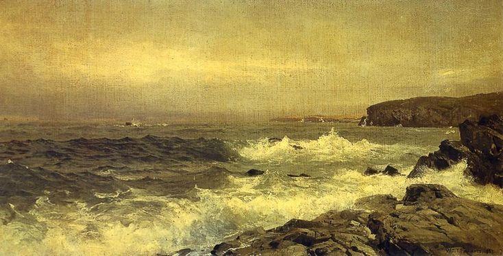 'steinig meer küste', öl auf tafel von William Trost Richards (1833-1905, United States)