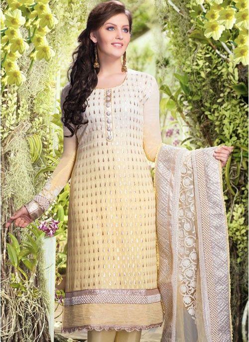 Gleaming Cream & Off White Banarsi Silk #Salwar Kameez #salwarkameez #pakistanisalwarkameez #womenapparel #ethnicwear