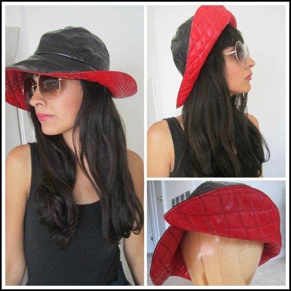 Vintage hat Black and Red by KitesFlyYellow on Etsy, $12.00