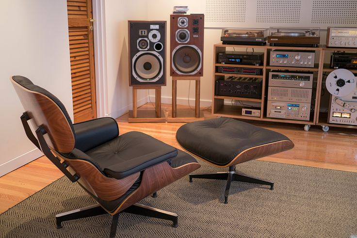 Analog nirvana. Plywood and leather Eames style recliner, turntables, reel to reel, 3 and 4 way monitor speakers. Doesn't get much better than this.