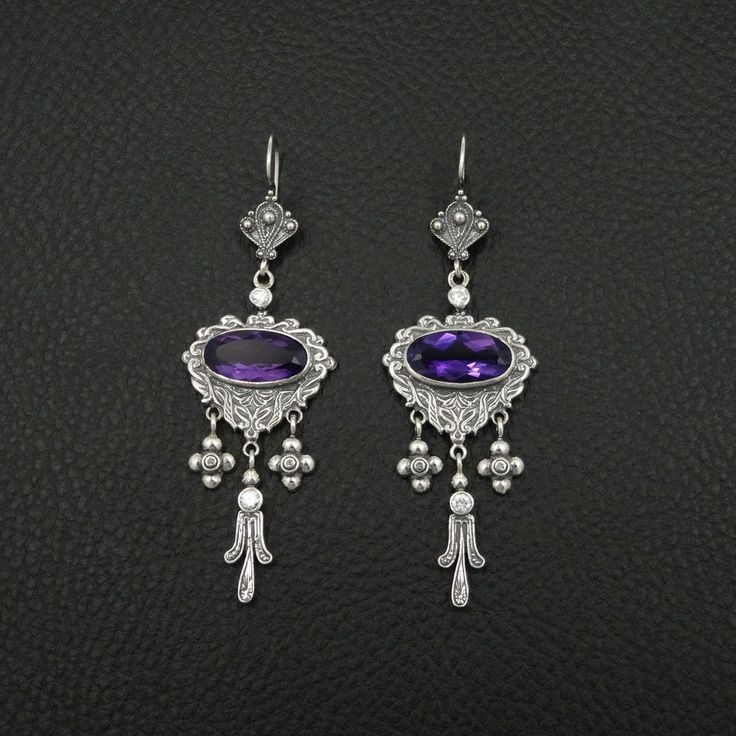 BIG NATURAL AMETHYST ETRUSCAN STYLE 925 STERLING SILVER GREEK HANDMADE EARRINGS #IreneGreekJewelry #Chandelier