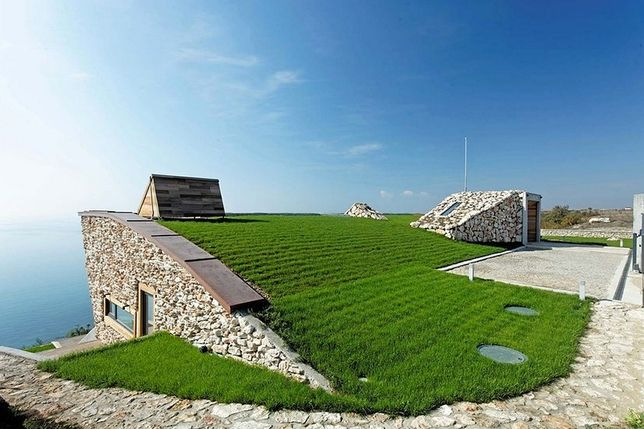 Green roof on a passive house.