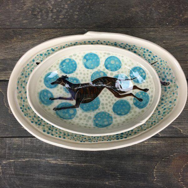 Image of Oval dish (Brindle greyhound) #01