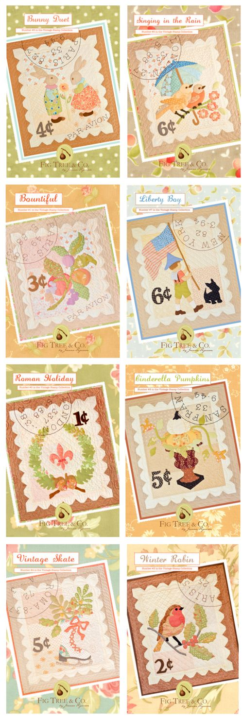 Postage stamps quilts from Fresh Figs . . . aren't these darling!