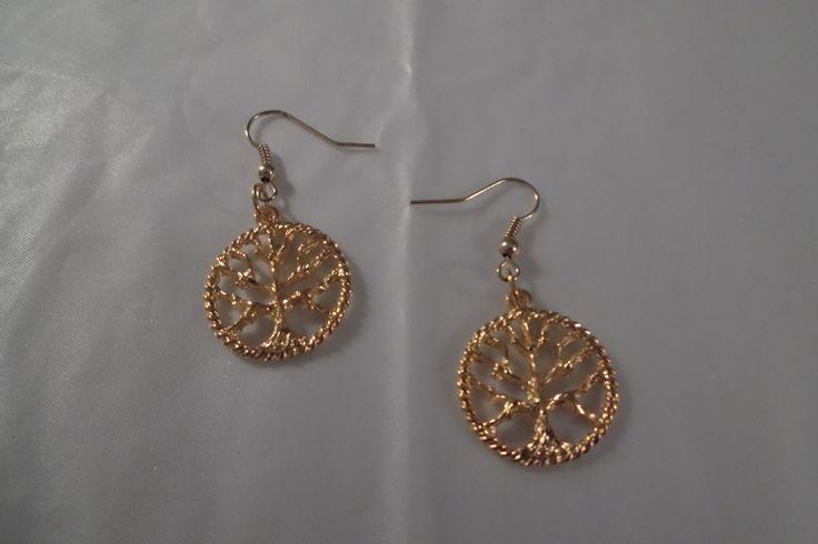Gold Plated Tree Of Life Earrings,Dangle Earrings,Drop Earrings by HealingAuras on Etsy